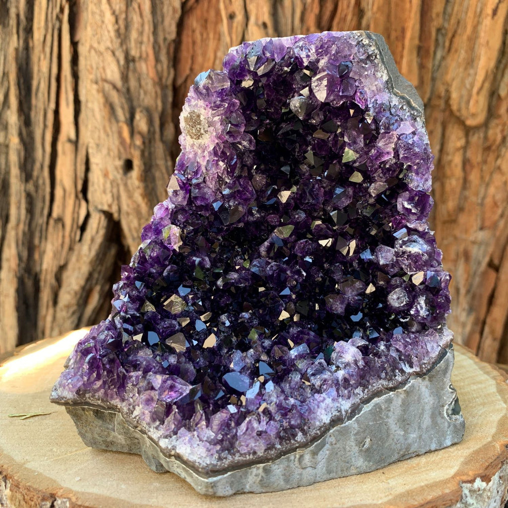 13.5cm 1.47kg  Amethyst Crystal Cluster in Geode from Uruguay