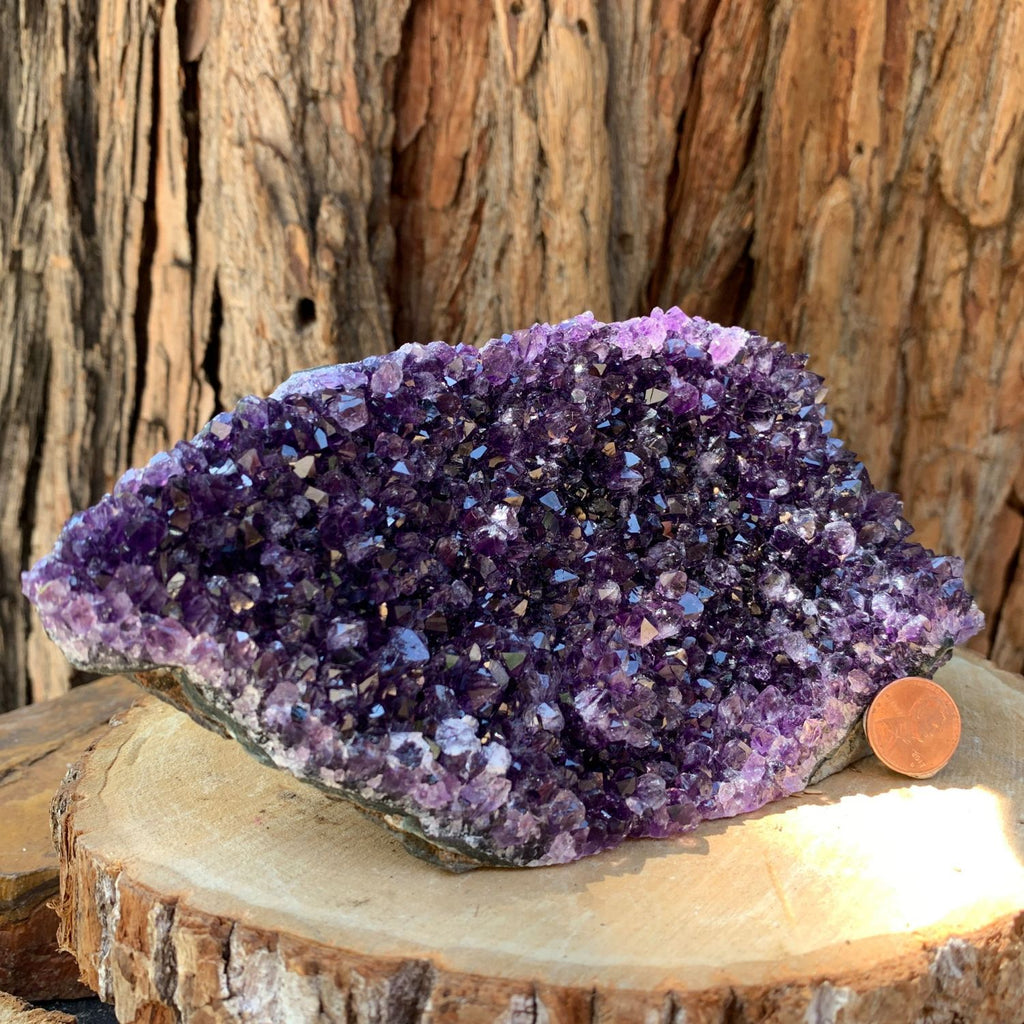 16.7cm 1.4kg  Amethyst Crystal Cluster in Geode from Uruguay