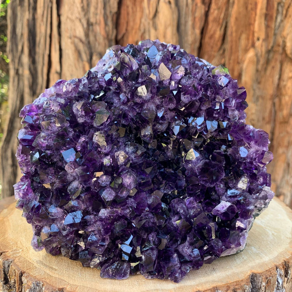 14.7cm 2.11kg  Amethyst Crystal Cluster in Geode from Uruguay