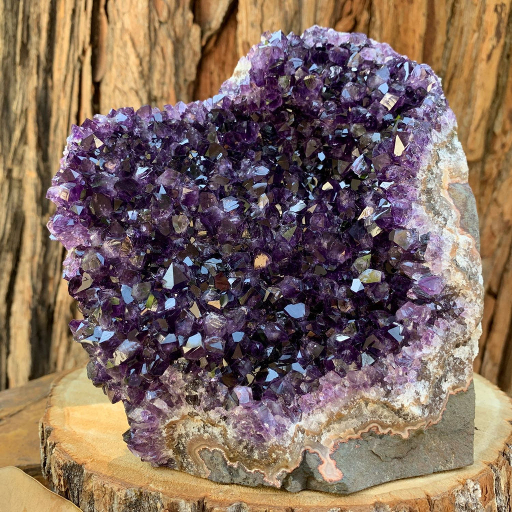 16.2cm 2.28kg  Amethyst Crystal Cluster in Geode from Uruguay