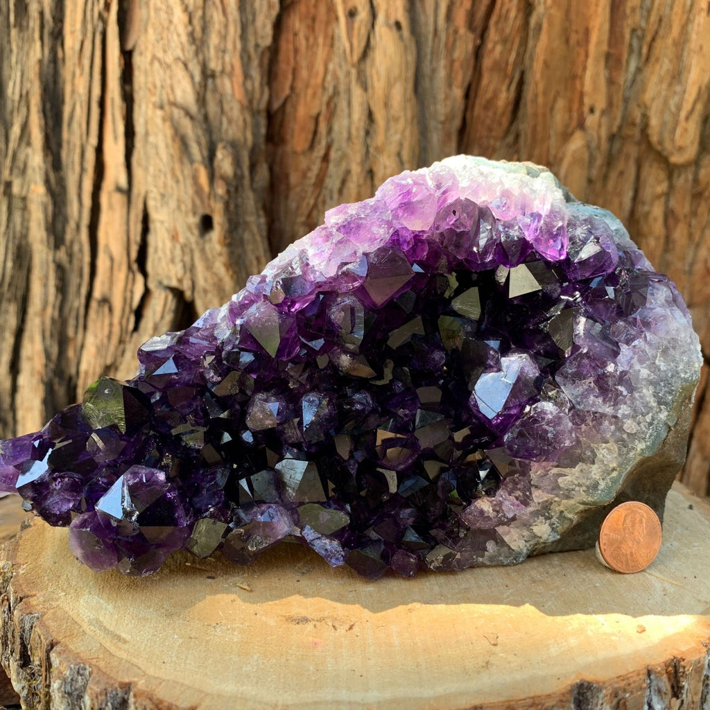 18.3cm 2.11kg  Amethyst Crystal Cluster in Geode from Uruguay