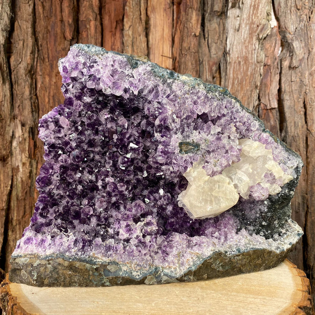 25.5cm 3.36kg Amethyst with Clear Calcite from Uruguay