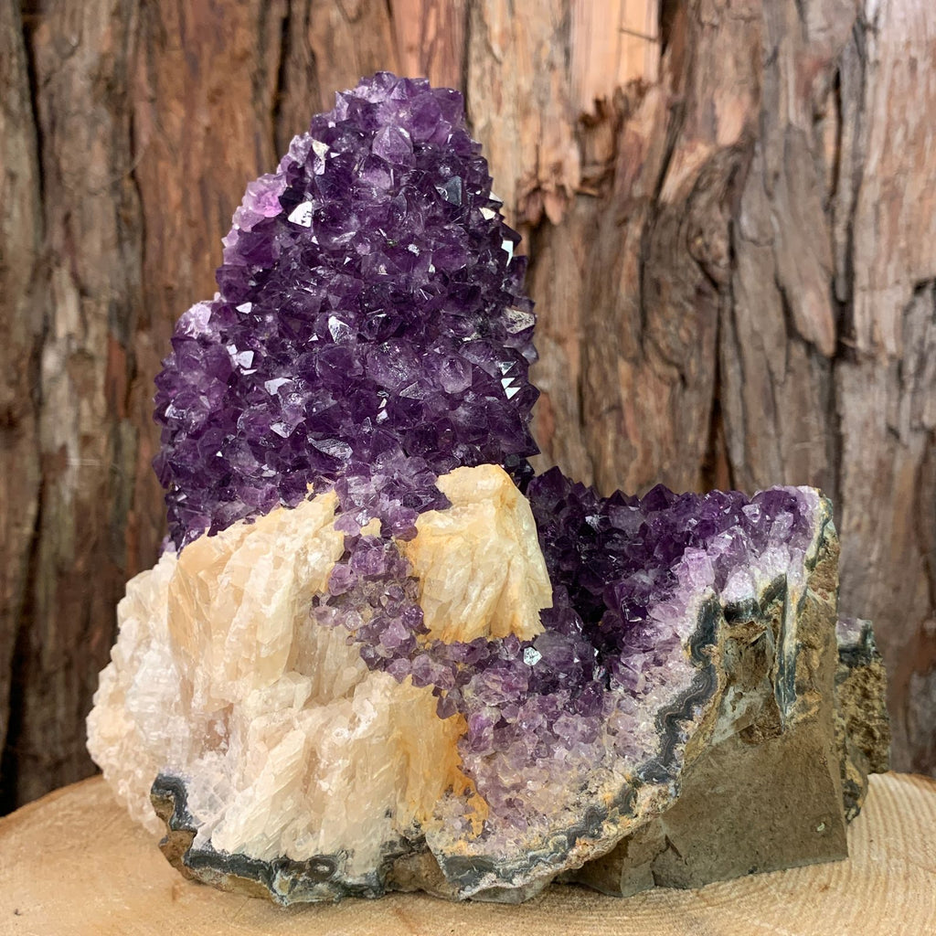 19.5cm 3.04kg Amethyst with Dogtooth Calcite in Geode from Brazil