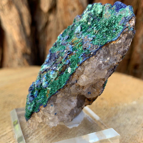 110g 7cm Azurite and Malachite Growing on Quartz Matrix Specimen from Morocco
