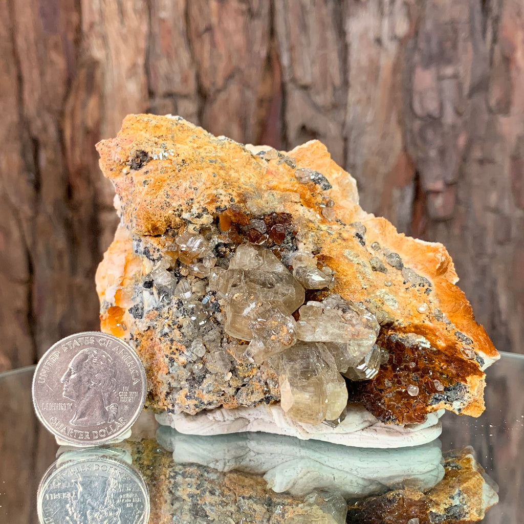 9.5cm 458g Cerussite, Vanadinite on Barite, Galena from Mibladen, Morocco