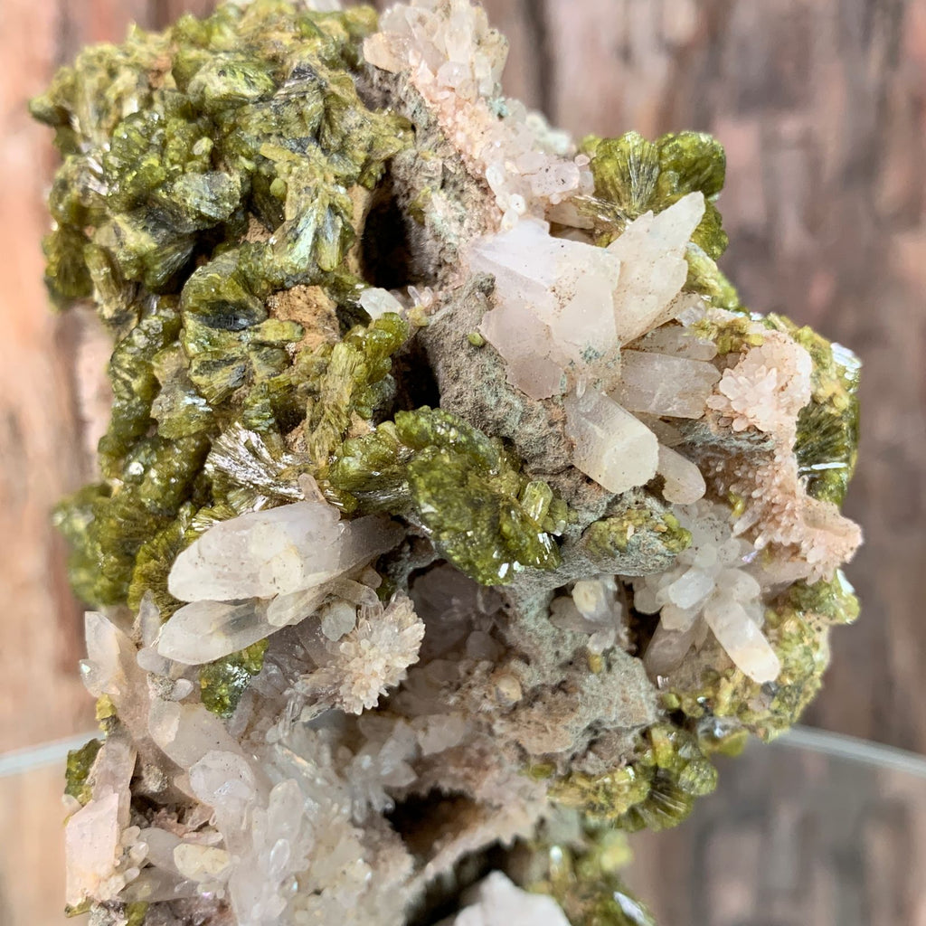9.5cm 316g Epidote, Clear Quartz from Morocco