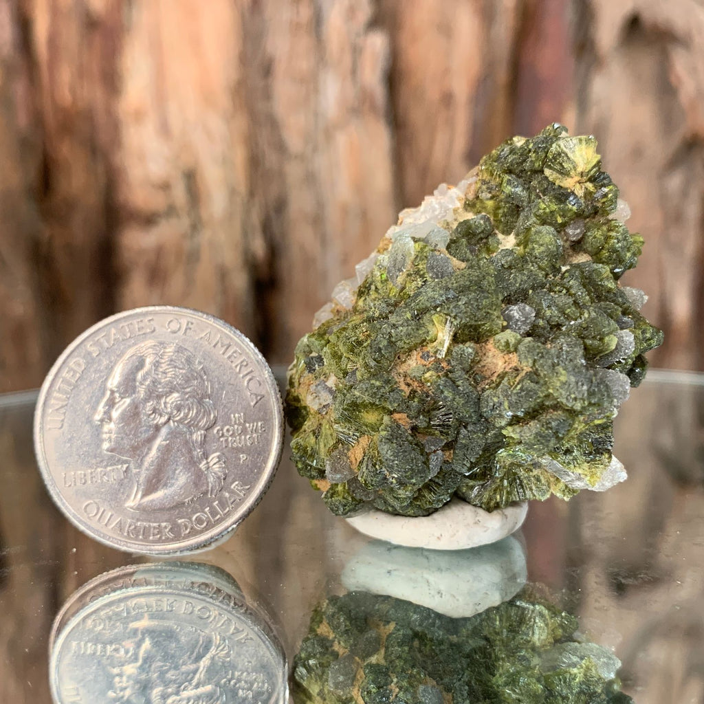 4cm 38g Epidote on Clear Quartz from Morocco