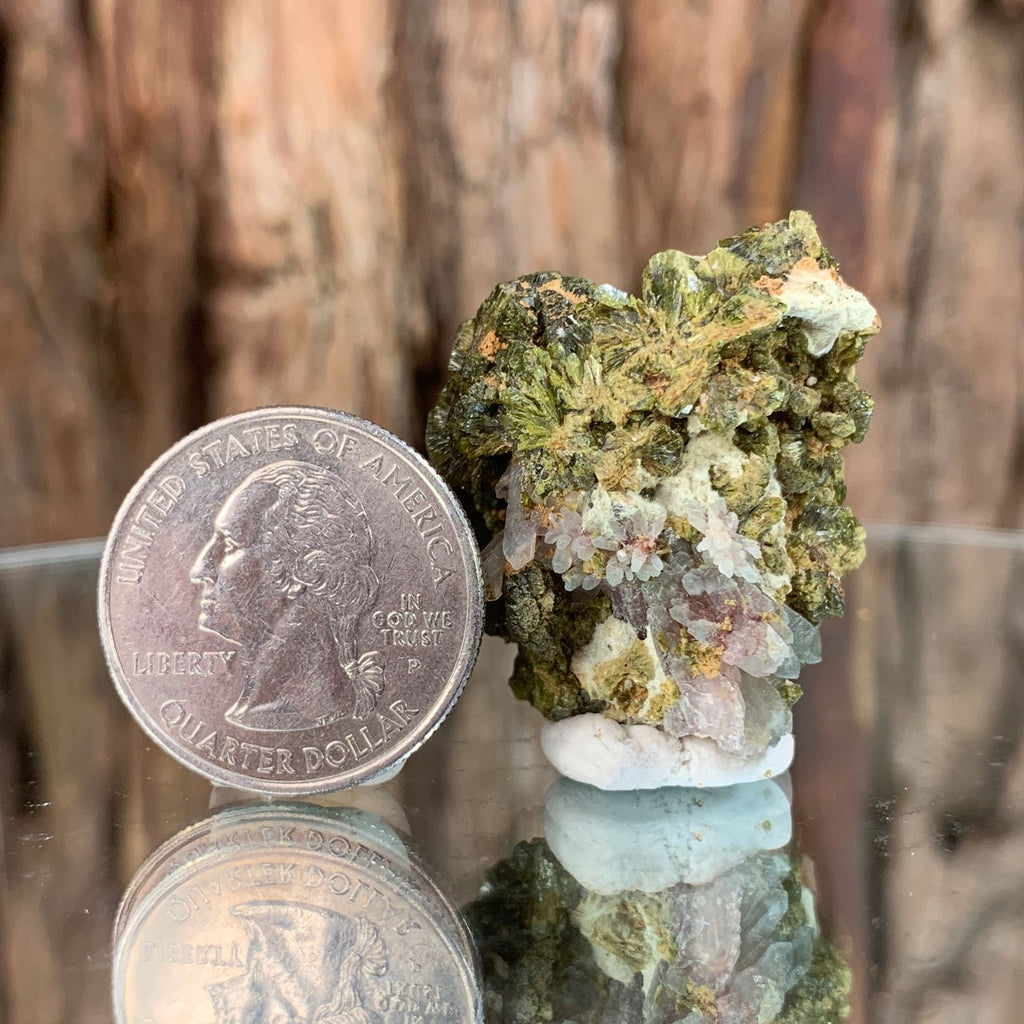 3cm 26g Epidote, Clear Quartz Crystal Mineral Stone from Morocco