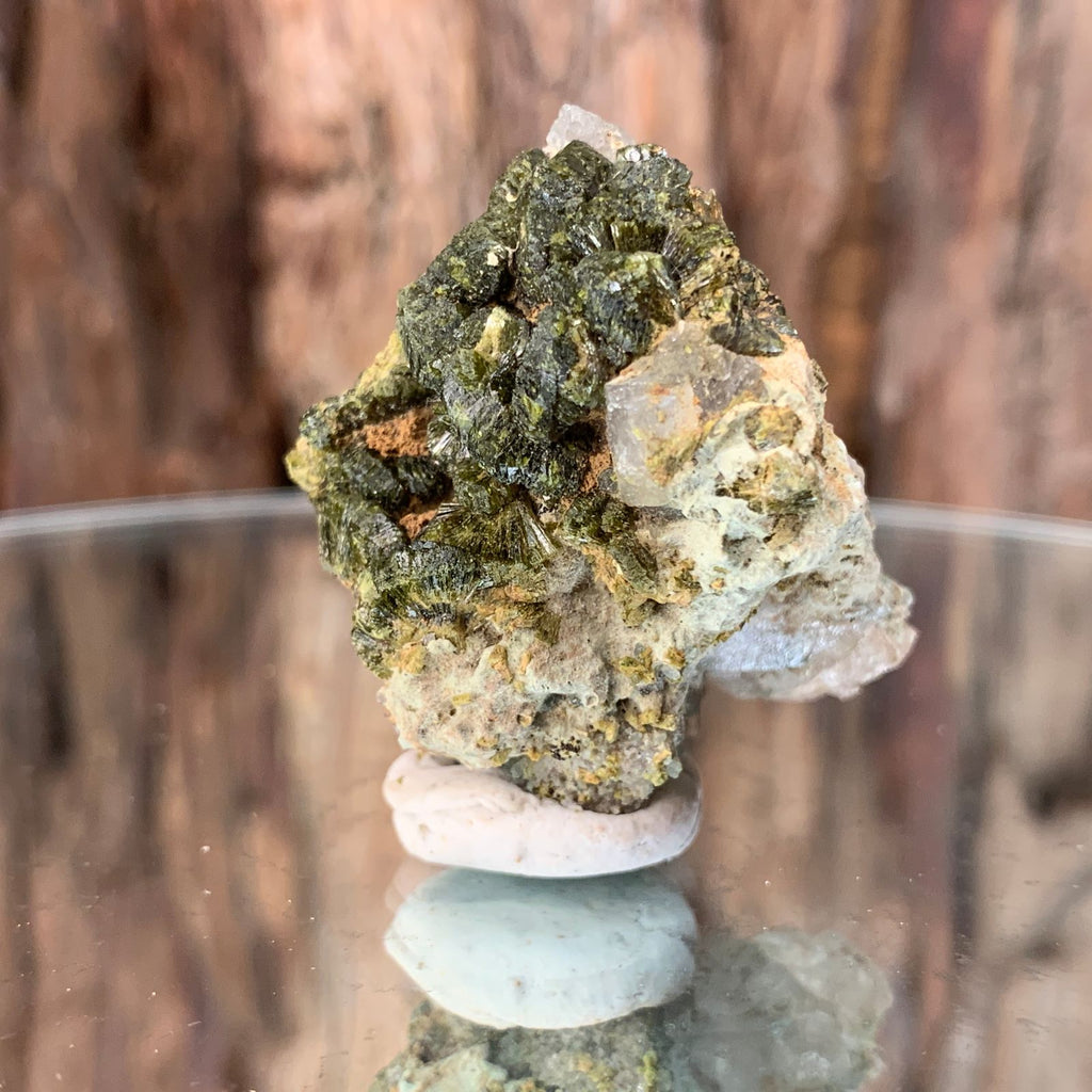 4cm 32g Epidote on Clear Quartz Crystal Mineral Stone from Morocco