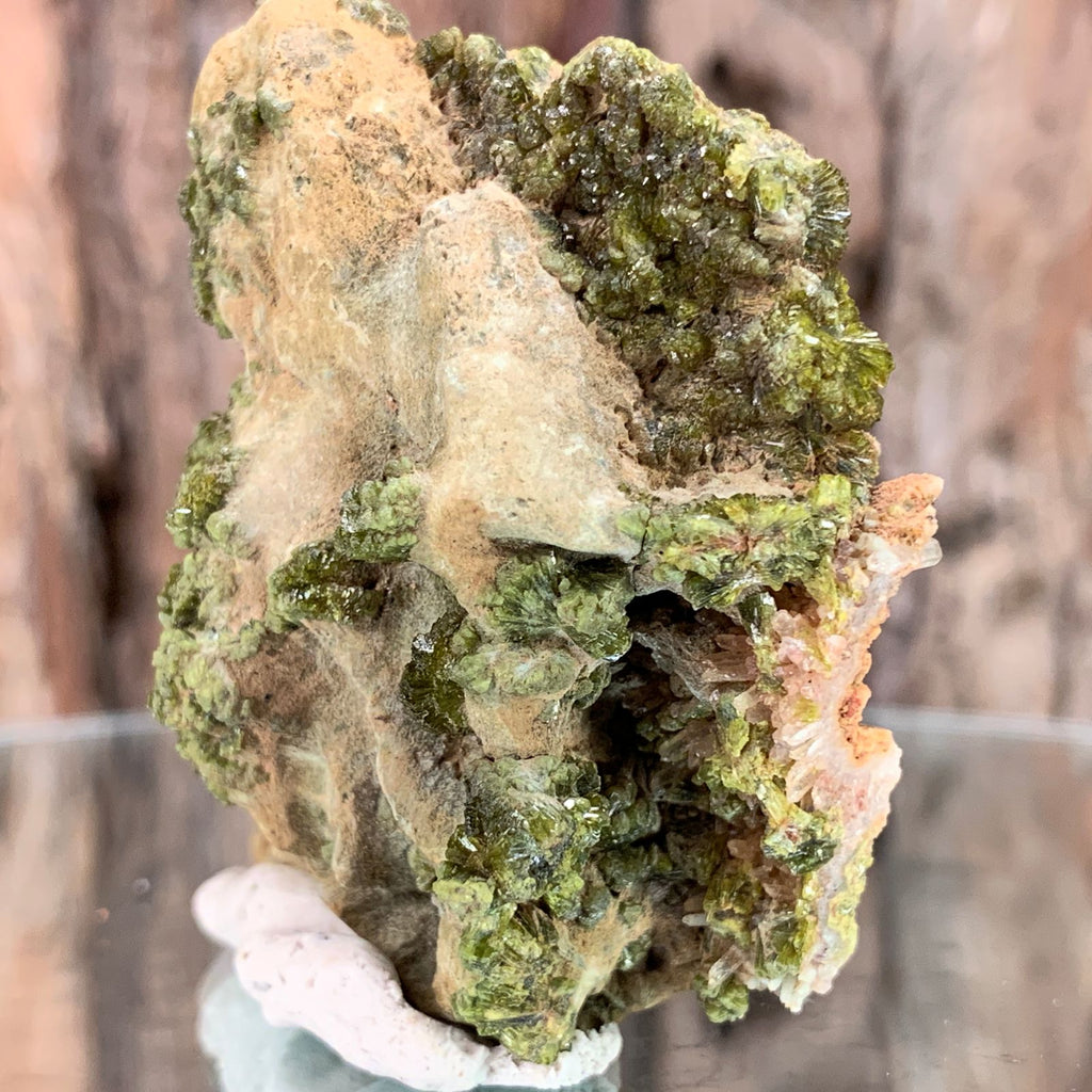 6cm 72g Epidote, Clear Quartz Crystal Mineral Stone from Morocco