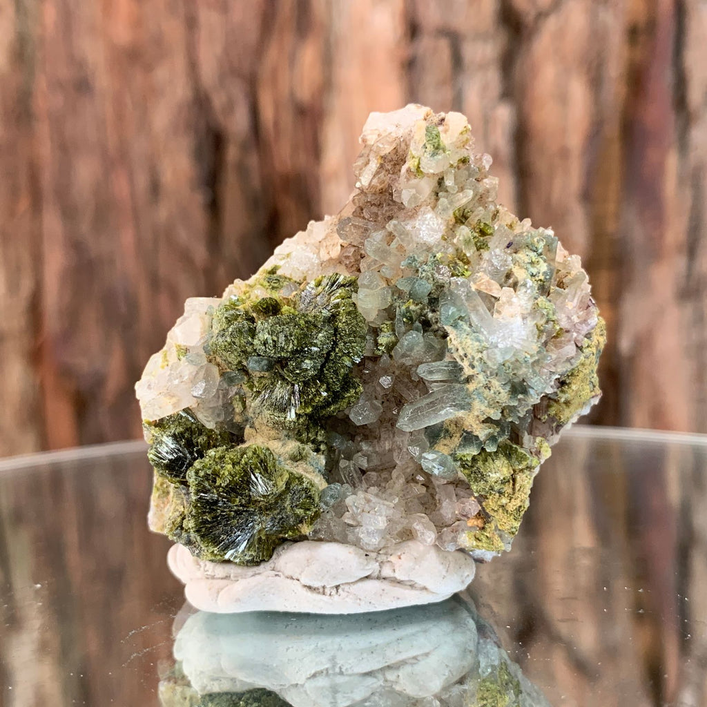 5cm 46g Epidote on Clear Quartz Crystal Mineral Stone from Morocco
