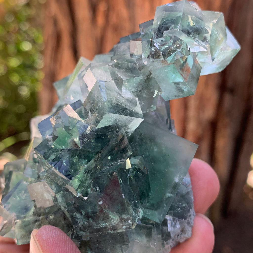 10cm 300g Clear Green Fluorite from Xianghualing, China