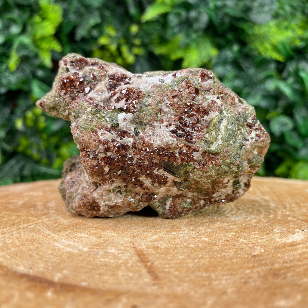 7.5cm 298g Red Garnet, Epidote and White Calcite from Pakistan