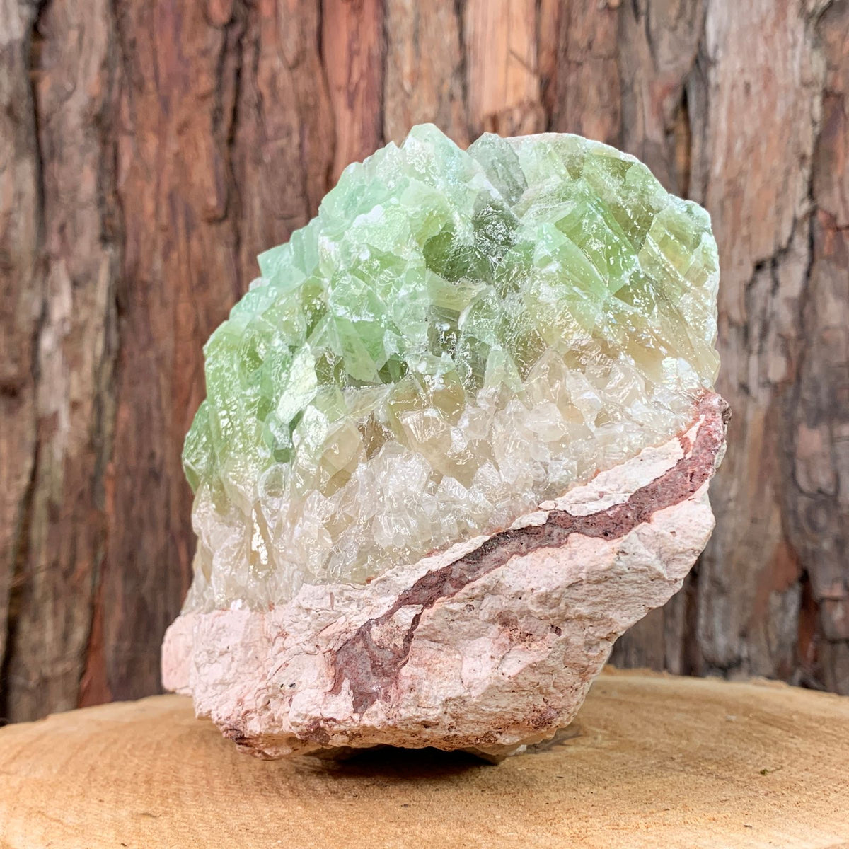 19cm 3.18kg Green and White Calcite from Mexico
