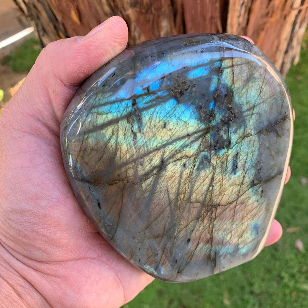 10.5cm 978g Polished Labradorite from Madagascar