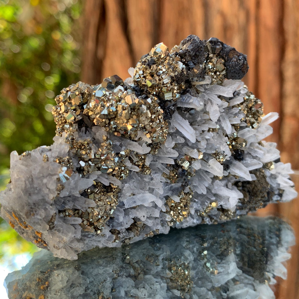 10cm 348g Pyrite, Clear Quartz, Sphalerite from Huaron, Peru