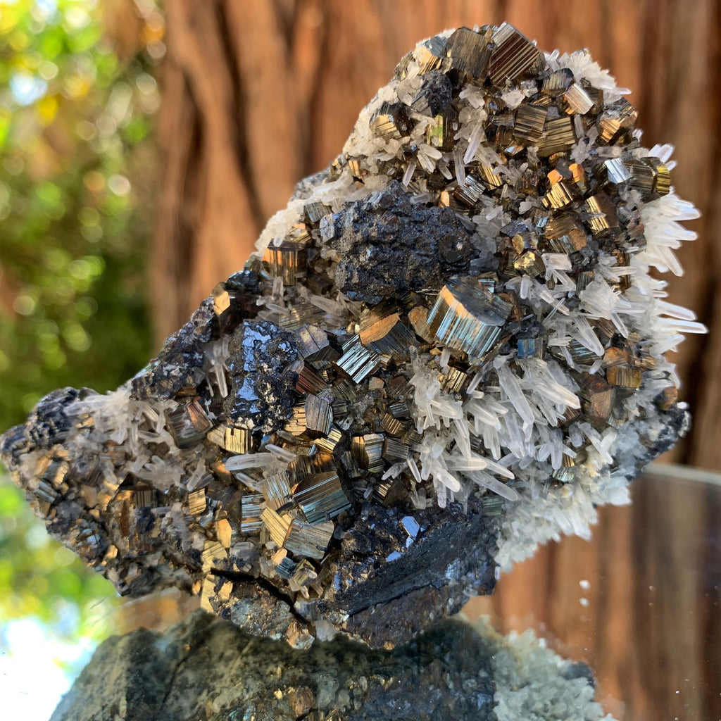 9cm 258g Pyrite, Clear Quartz, Sphalerite from Huaron, Peru