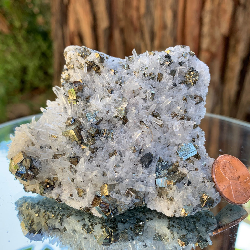 8.5cm 238g Pyrite, Clear Quartz from Huaron, Peru
