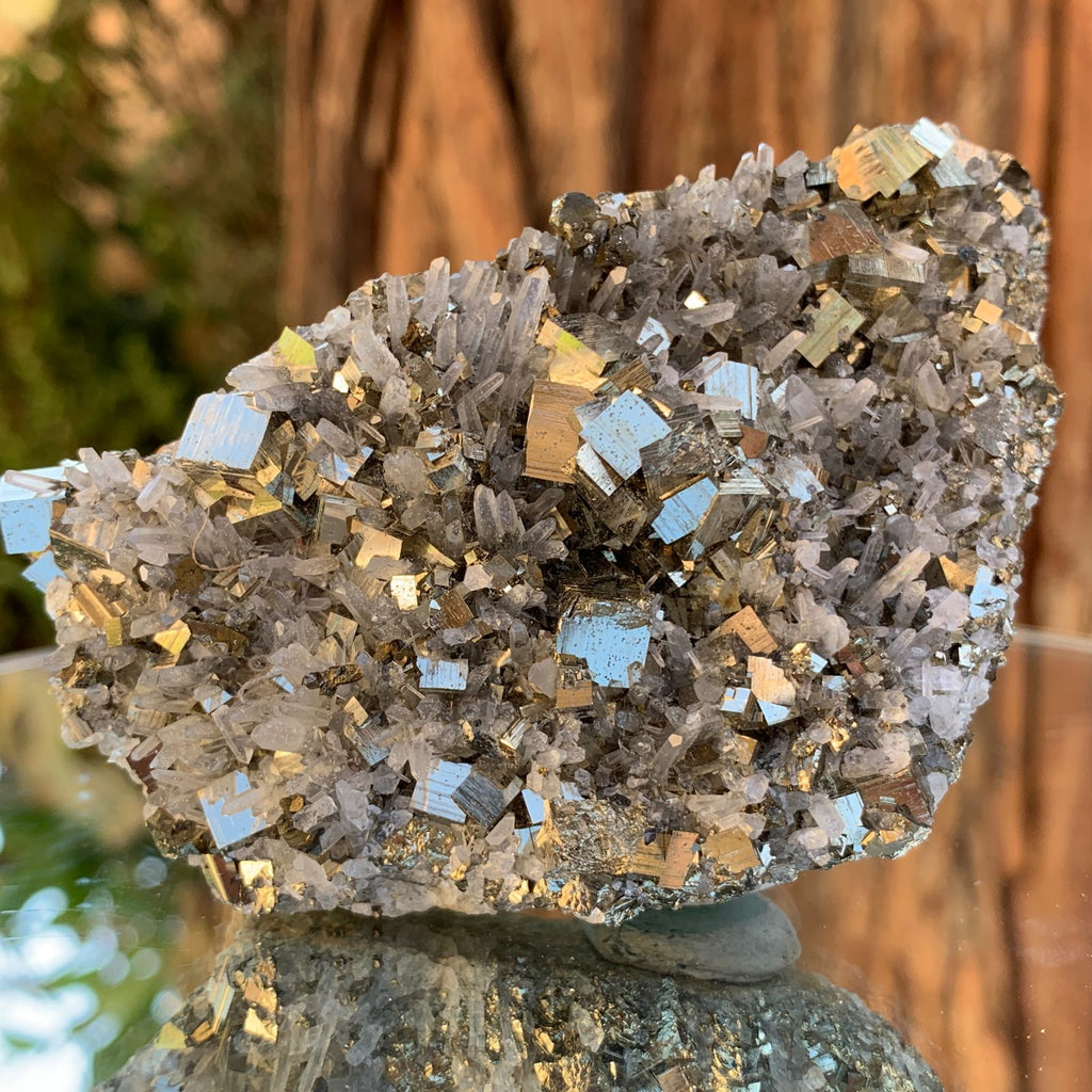 9cm 262g Pyrite, Clear Quartz from Huaron, Peru