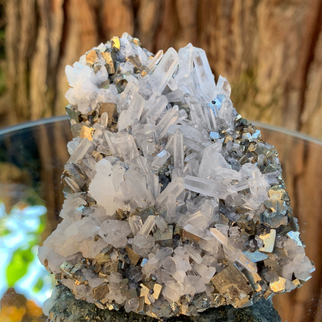 9cm 382g Pyrite, Clear Quartz from Huaron, Peru