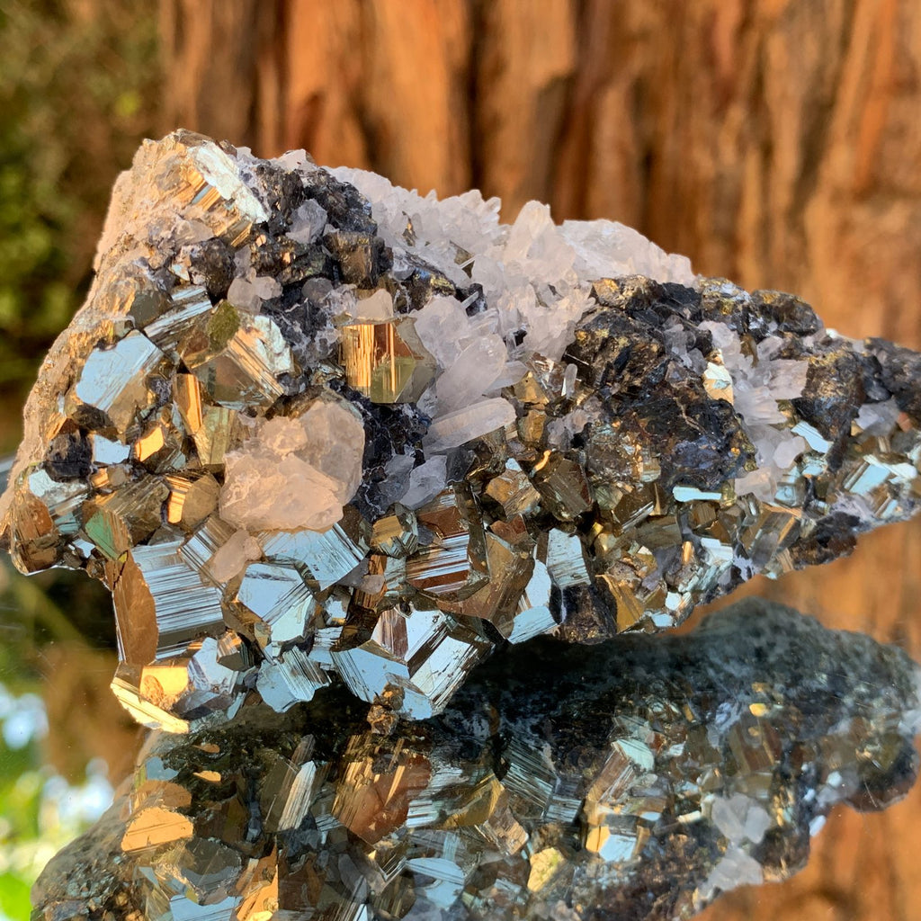 10.5cm 390g Pyrite, Clear Quartz, Sphalerite from Huaron, Peru