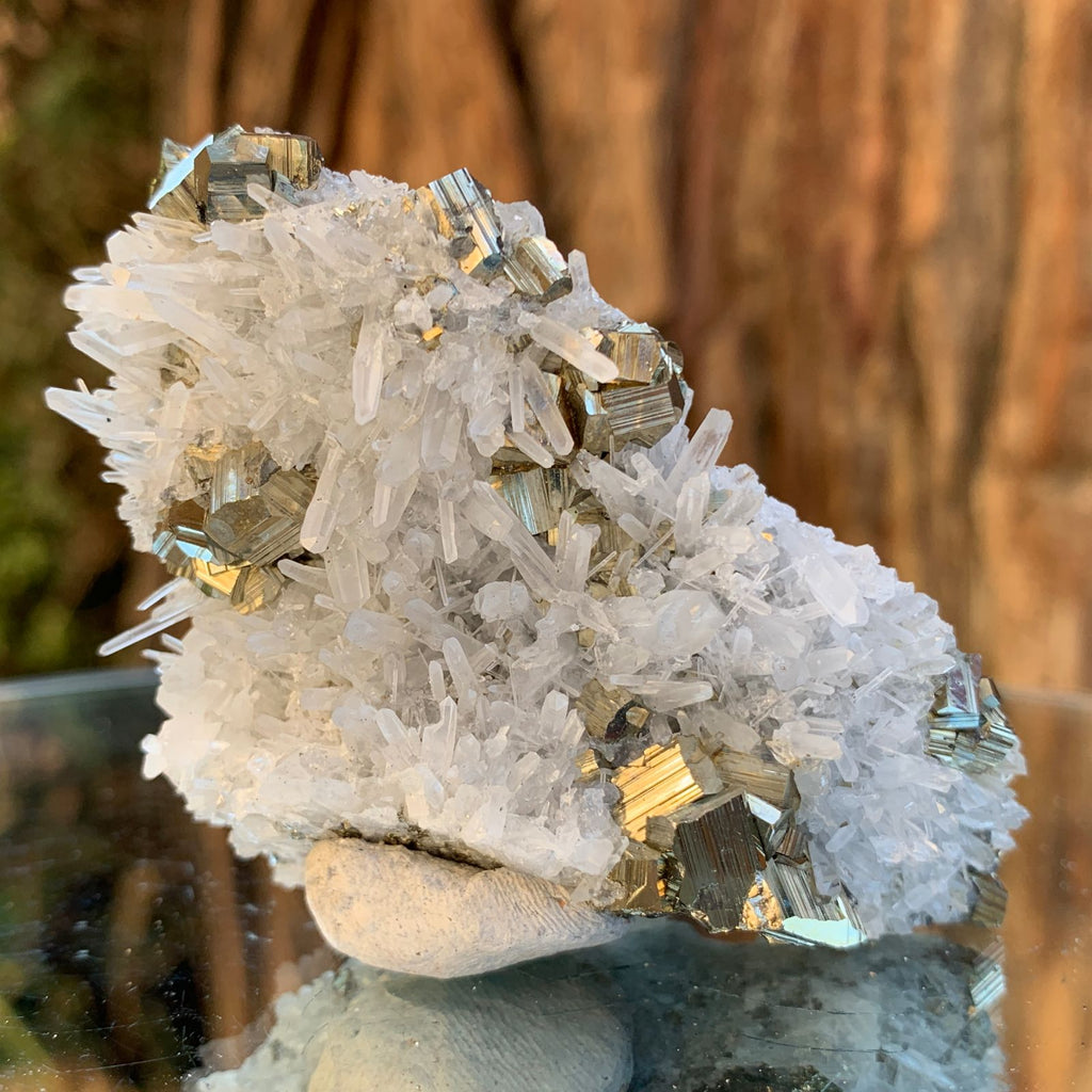 8cm 120g Pyrite, Clear Quartz from Huaron, Peru