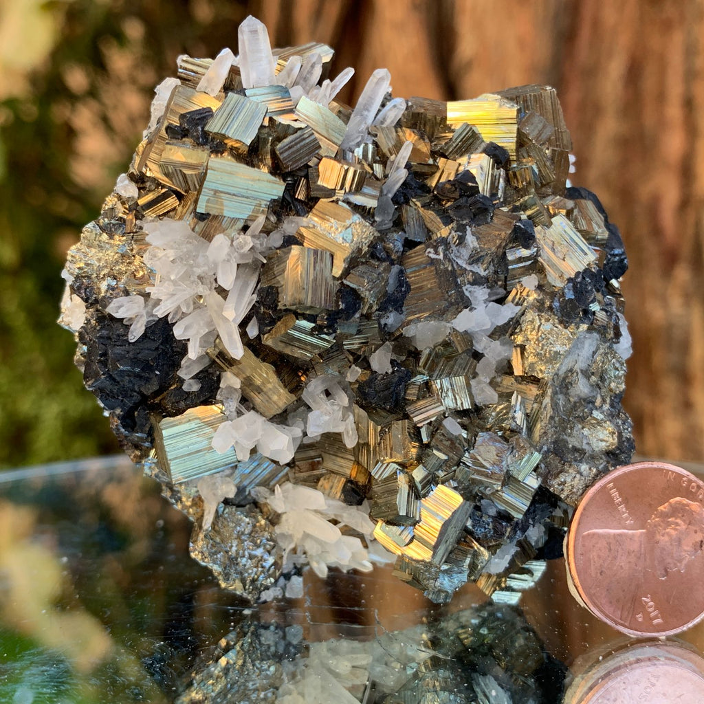 7cm 220g Pyrite, Clear Quartz, Sphalerite from Huaron, Peru