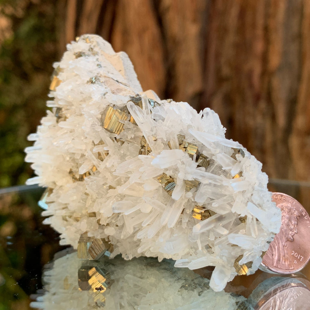 9cm 128g Pyrite, Clear Quartz from Huaron, Peru