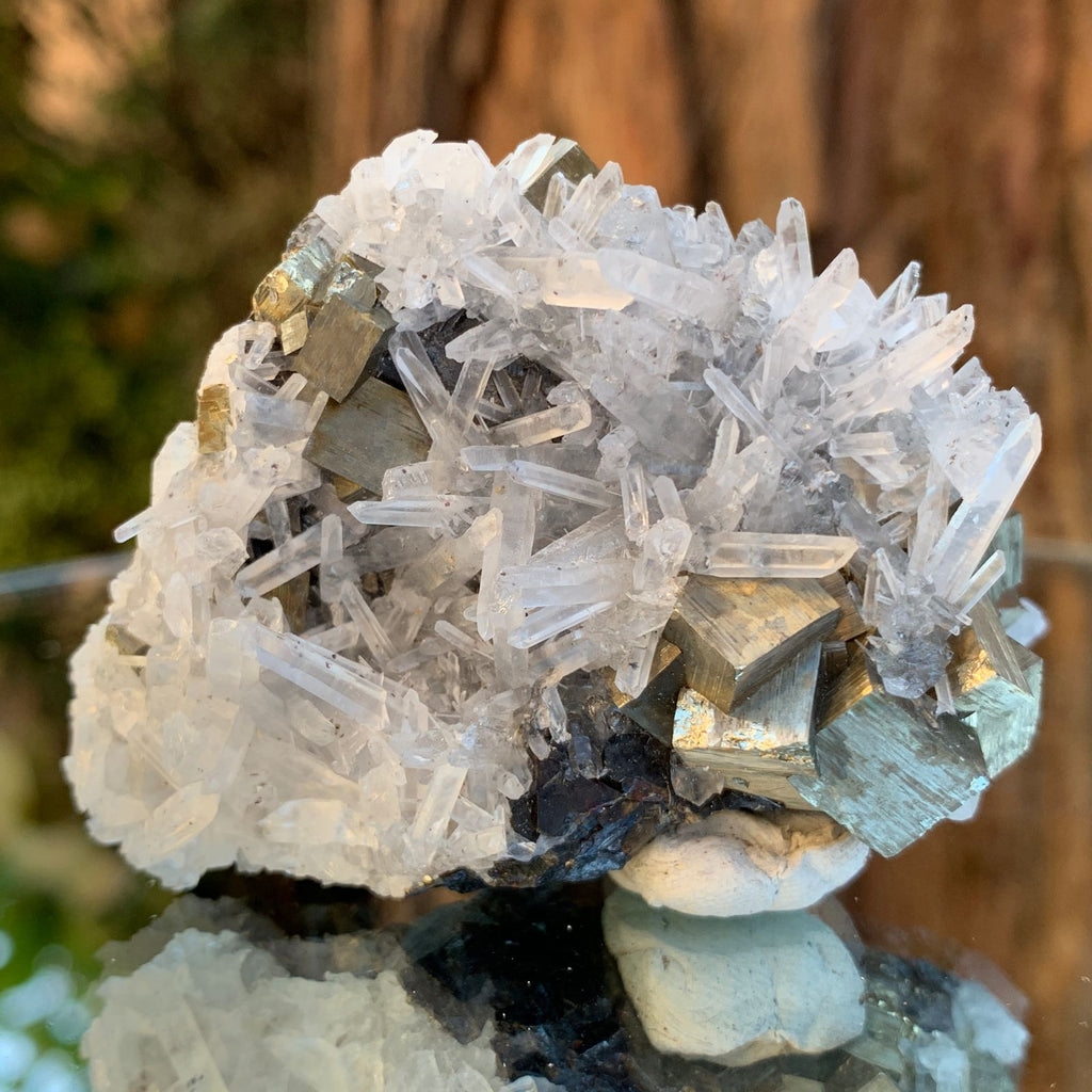 6.5cm 134g Pyrite, Clear Quartz on Sphalerite Matrix from Huaron, Peru