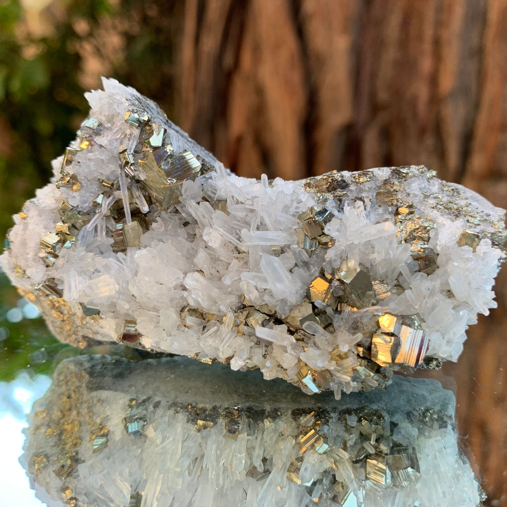 8.5cm 158g Pyrite, Clear Quartz from Huaron, Peru
