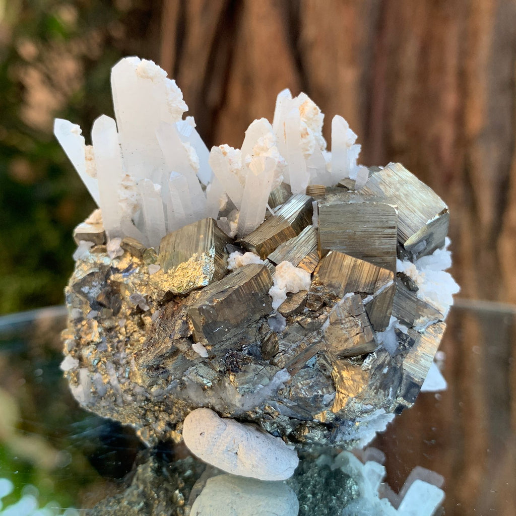 7cm 170g Pyrite, Clear Quartz from Huaron, Peru