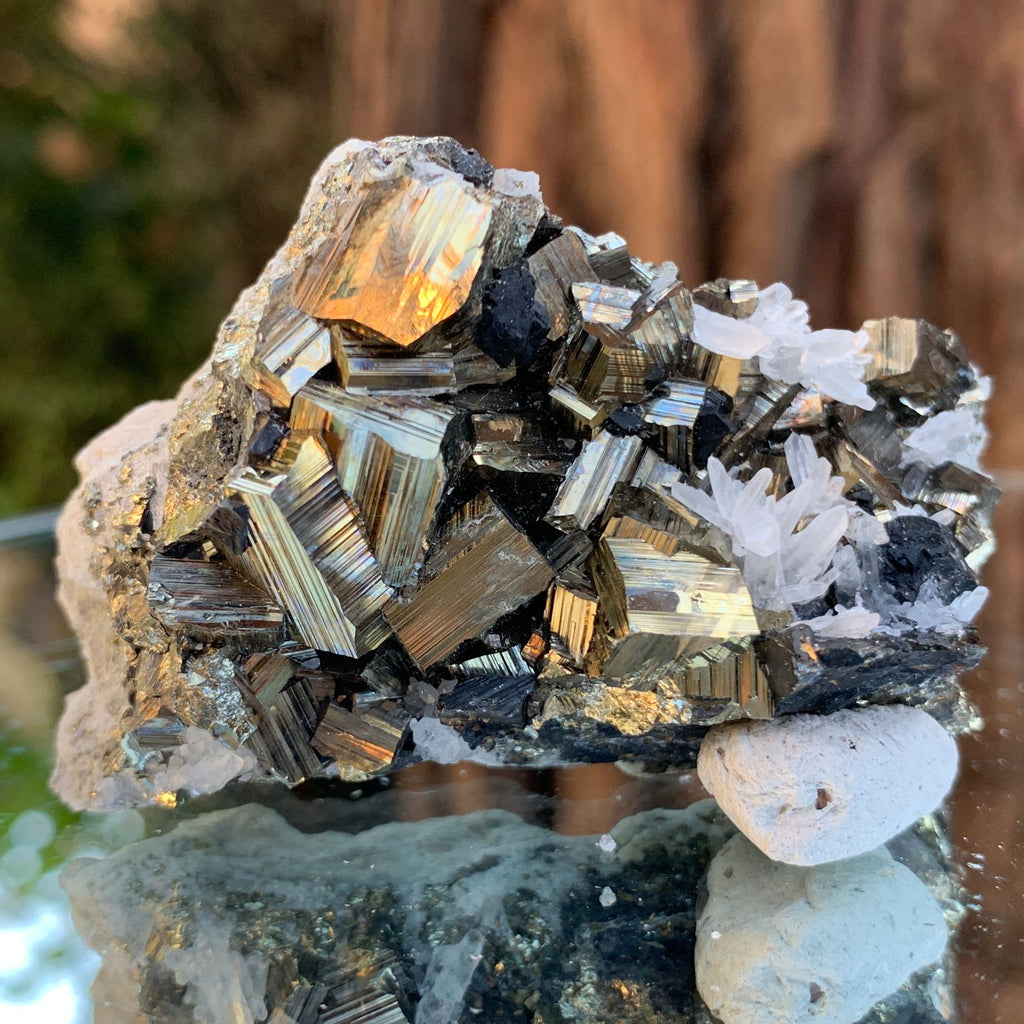 7cm 112g Pyrite, Clear Quartz, Sphalerite from Huaron, Peru