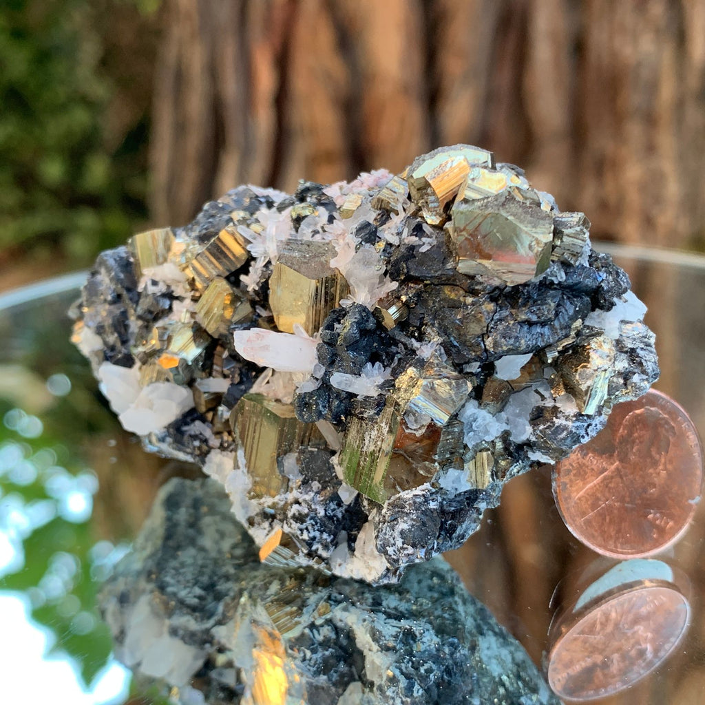 7.5cm 144g Pyrite, Clear Quartz, Sphalerite from Huaron, Peru