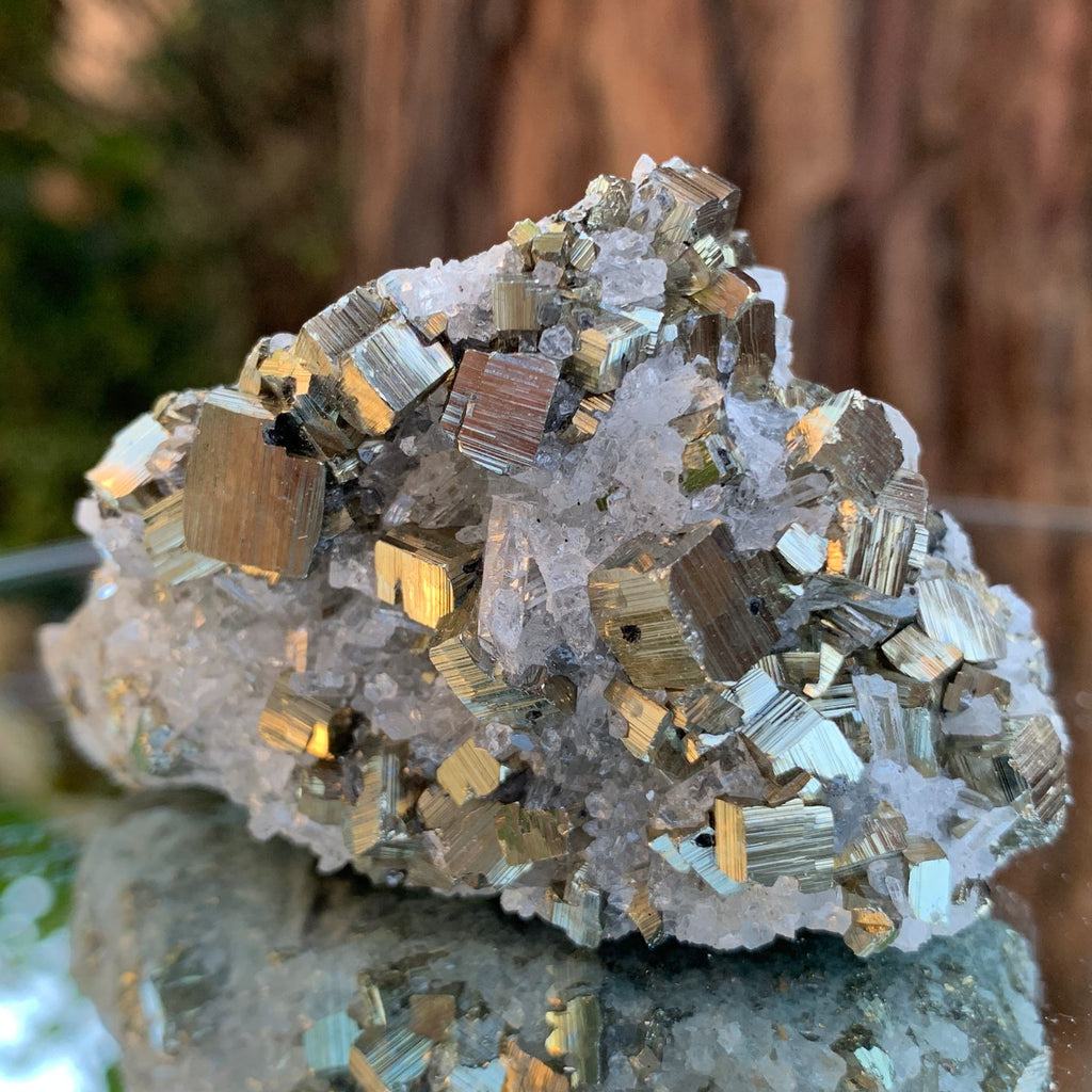 6cm 138g Pyrite, Clear Quartz from Huaron, Peru