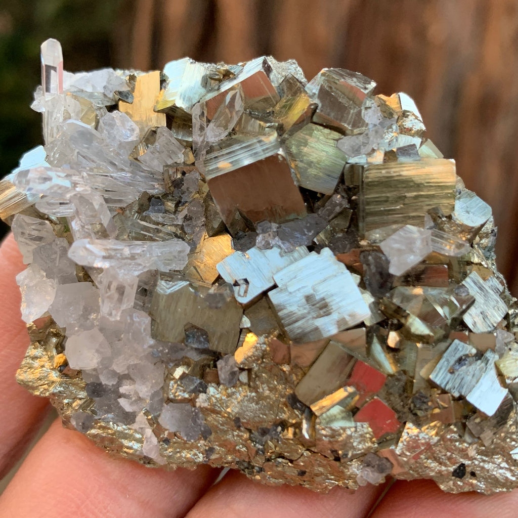 7cm 100g Pyrite, Clear Quartz from Huaron, Peru
