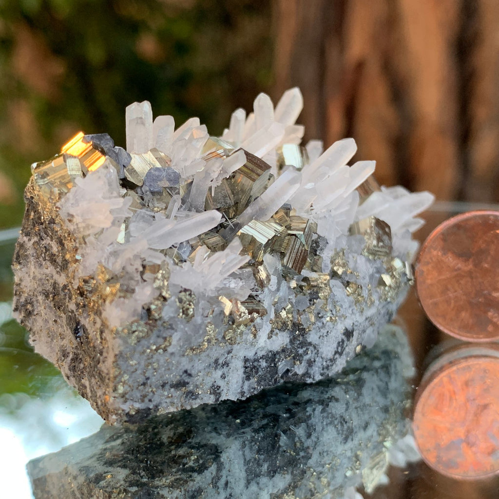 8cm 124g Pyrite, Clear Quartz on Sphalerite Matrix from Huaron, Peru