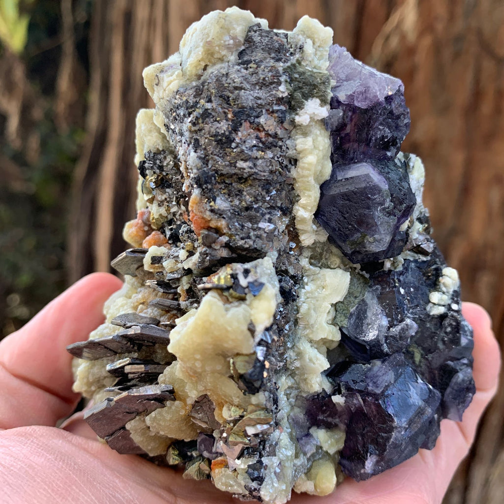 9.2cm 575g Purple Fluorite, Pyrrhotite with Arsenopyrite, Chalcopyrite, Sphalerite from Chifeng, Inner Mongolia, China