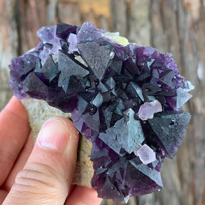 8.8cm 182g Octahedral Purple Fluorite from Sanming Mine, Zhejoiang Province, China