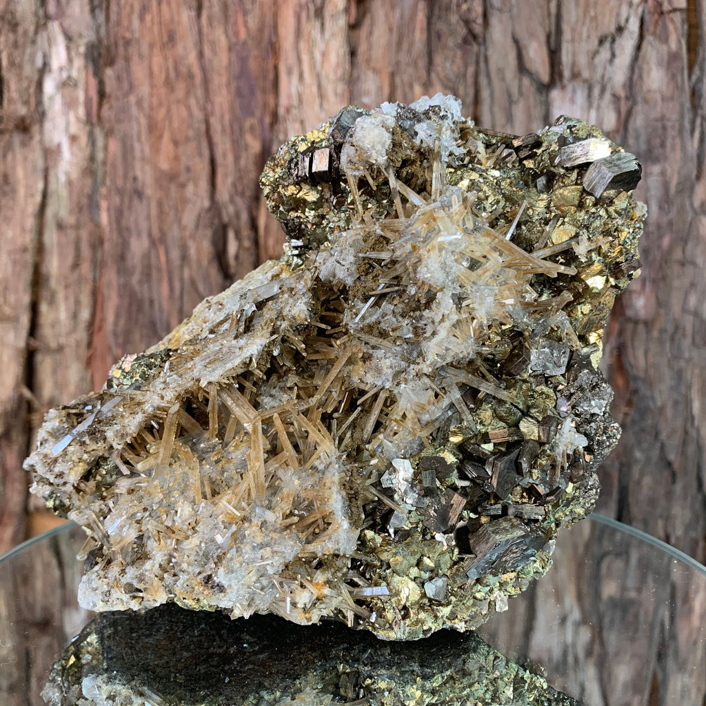 17cm 2.07kg Pyrrhotite, Chalcopyrite, Clear Quartz from Chifeng, Inner Mongolia, China