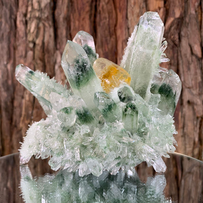 13cm 1.12kg Lab Grown Phantom Clear Green Yellow Quartz