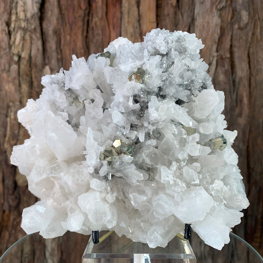 17cm 2.71kg Clear Quartz with Pyrite from Myanmar
