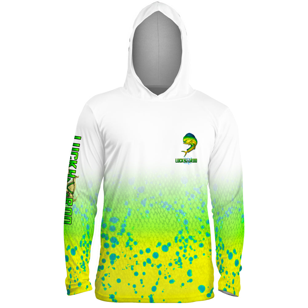 Mahi Fade Mens Performance LS With Hood Allover