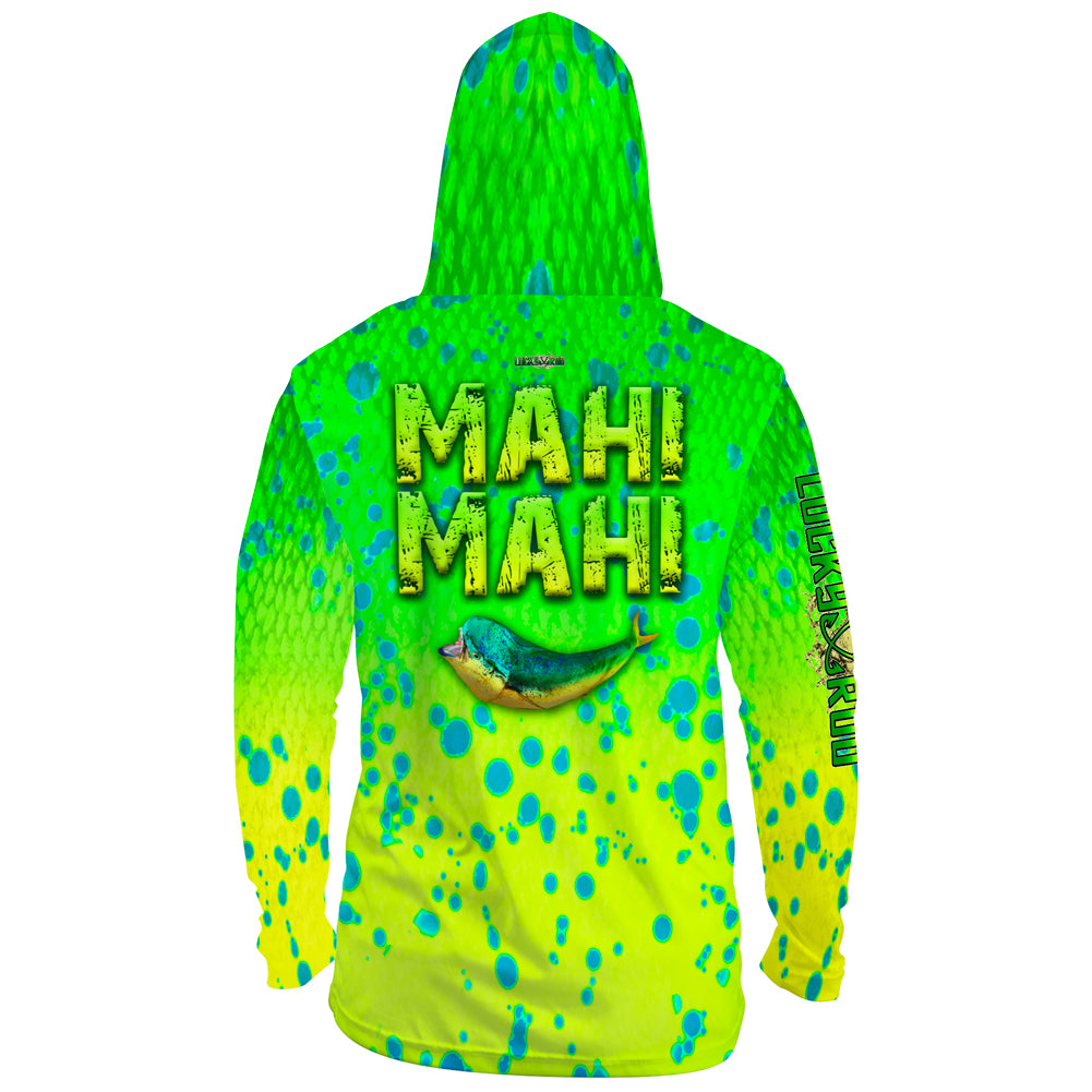 Mahi Attack Mens Performance LS With Hood Allover