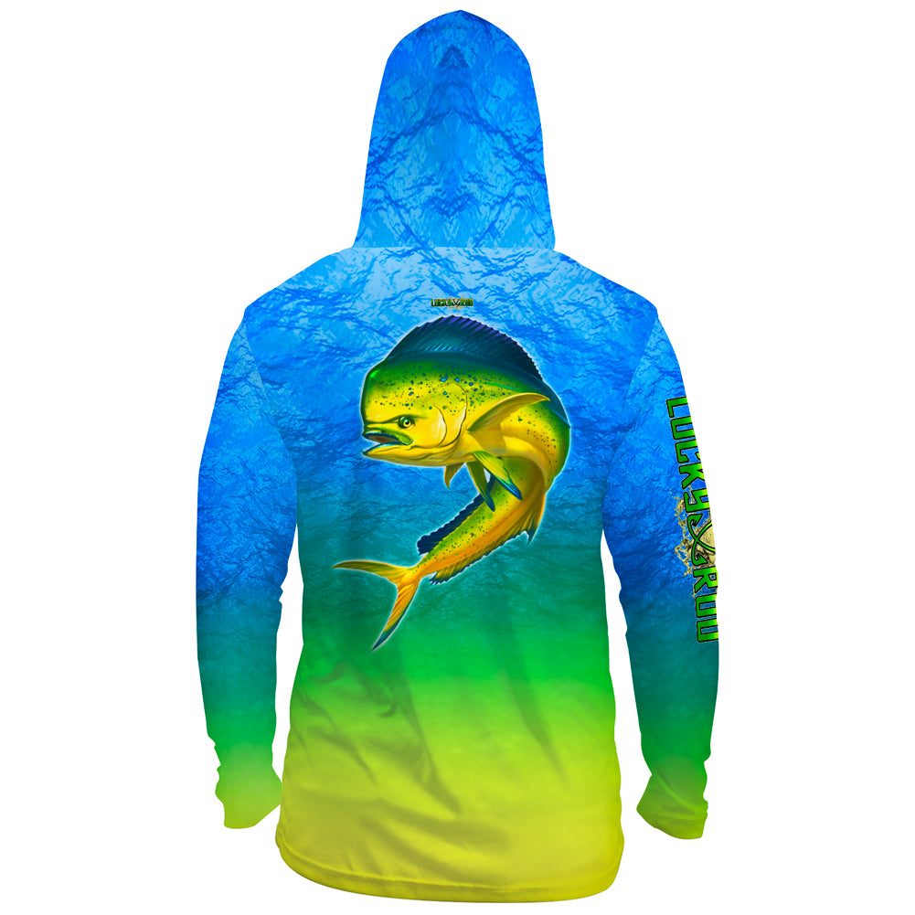 Mahi Nation Mens Performance LS With Hood Allover