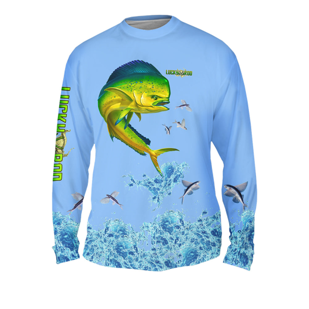 Mahi Splash Flying Fish Mens Performance Long Sleeve Allover