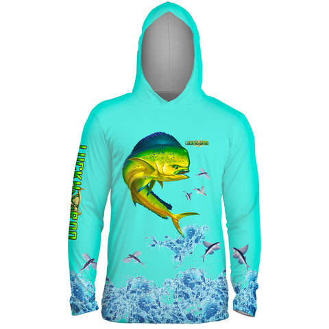 Mahi Splash Flying Fish Mens Performance LS With Hood