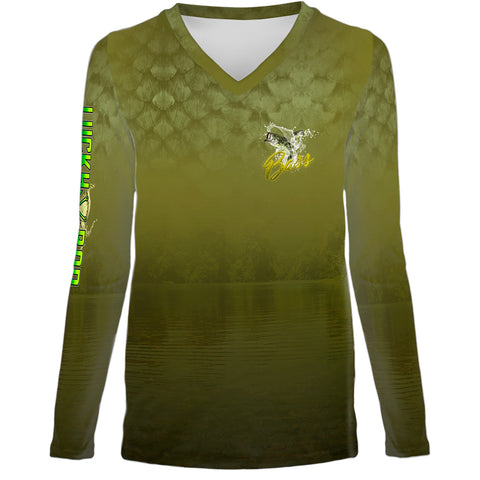 Bass Scales Womens LS V-Neck Allover