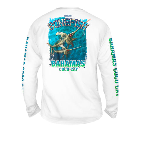 Bone Marlin Turquise - Mens Performance Long Sleeve Spot Print