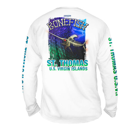 Bone Marlin Dark Night - Mens Performance Long Sleeve Spot Print
