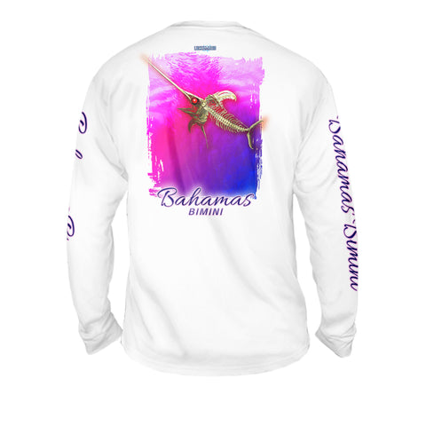 Bone Marlin Hot Pink - Mens Performance Long Sleeve Spot Print